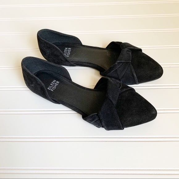 Eileen Fisher Fuller Black Suede D'Orsay Flats
